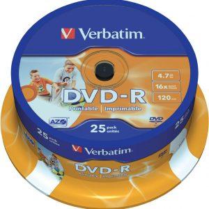 Verbatim F.F Printable DVD-R 47 GB/120 min 16x 25 Τεμ.σε Κωρίνα