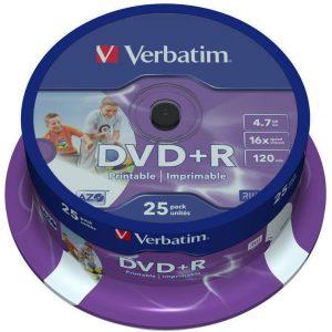 Verbatim F.F Printable DVD+R 47 GB/120 min 16x 25 Τεμ.σε Κωρίνα